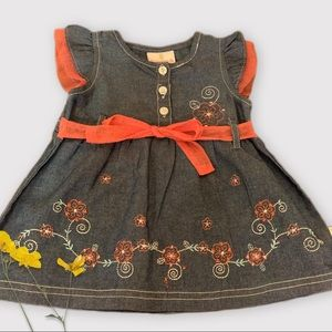 18 Month Little Girl Dress Embroidered Flowers